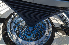 Steel, glass and mirrors - architectural details of Reichstag cu Stock Photo