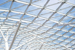 Steel glass roof ceiling wall construction transparent window Stock Images