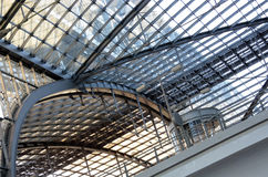 Steel and glass structure. Main train station in Berlin detail. Modern glass and steel architecture Stock Photography