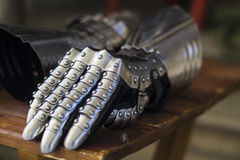 Steel gloves. Protection for arms in modern sport called HMB Royalty Free Stock Photo