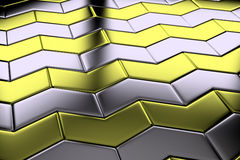 Steel with gold arrow blocks flooring diagonal view Stock Photos