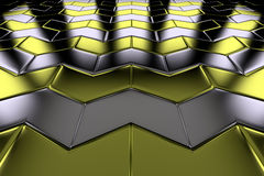 Steel with gold flooring perspective view Stock Image