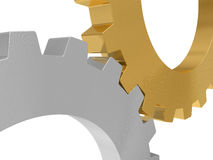 Steel and gold gear Stock Photography