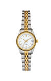Steel - gold wrist watch isolated on white with clipping path Royalty Free Stock Image
