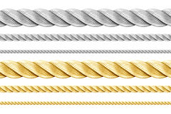Steel and golden ropes set isolated Stock Photography
