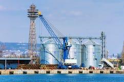 Steel Grain Bins Stock Image