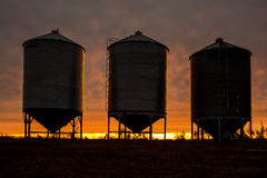 Steel Grain Bins Stock Image