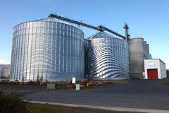 Steel grain silos in The Dalles Oregon Royalty Free Stock Photo