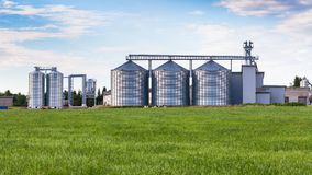 Steel grain silos. New Steel grain silos in Estonia, 4 JULY, 2018 stock photography