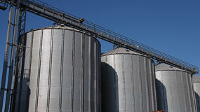 Steel Grain Silos. Used to store grain Stock Photos