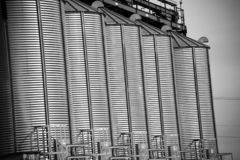 Metal agriculture tower in black and white stock photos