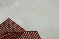 Steel grating red on a white background. Royalty Free Stock Photography