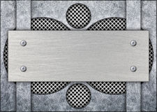 Steel gray mesh with a metal frame for an inscription, 3d, illus. Gray metal frame with mesh in the background, texture iron template, 3d, illustration Stock Photography