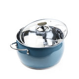 Steel green stock pot isolated Royalty Free Stock Images