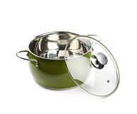Steel green stock pot isolated Royalty Free Stock Image