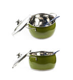 Steel green stock pot isolated Stock Image
