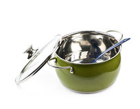 Steel green stock pot isolated Stock Images