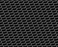Steel grid with hexagonal holes diagonal seamless background. Steel grid with hexagonal holes and reflection on black diagonal view industrial abstract textured Stock Photography