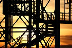 Steel grid structure. Stairs on an industrial structure Royalty Free Stock Images