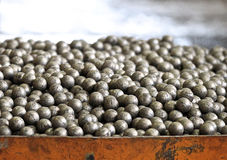 Steel grinding balls. Grinding balls for the mining processing industry Royalty Free Stock Photography