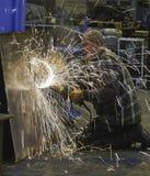 Steel grinding Stock Photo