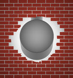 Steel hammer with brick wall. Royalty Free Stock Image
