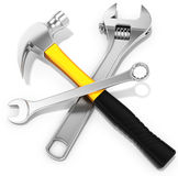 Steel hammer, spanner and  adjustable spanner. On white background 3D illustration Royalty Free Stock Images