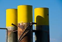 Steel harbor pilings Royalty Free Stock Photo