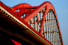 Steel harp. A steel bridge look like a harp in the blue sky Stock Images