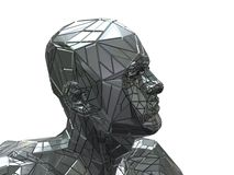 Steel head. Abstract 3d illustration of head from steel, over white background royalty free illustration