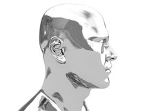 Steel head. Abstract 3d illustration of steel head over white background royalty free illustration