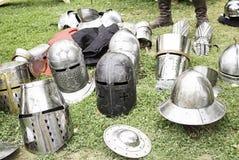 Steel helmets park Royalty Free Stock Images