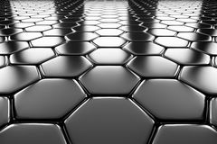 Steel hexagons flooring perspective view Royalty Free Stock Photos