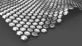 Steel hexagons in wave form levitating above grey surface. Abstract background. 3d illustration Royalty Free Illustration