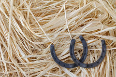 Steel horseshoes pointing upwards as a sign of good luck on drie Stock Image