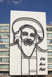 Steel image of Castro on building in Havana Stock Photos