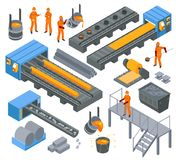 Steel Industry Isometric Set. Steel iron aluminium metallurgical industry production isometric elements set with workers hot rolling and molding vector stock illustration