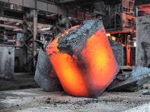 Steel ingot. In the workspace royalty free stock photography
