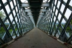 Free Steel Iron Bridge With Crossed Lines. Road Perspective Stock Photography - 173637722