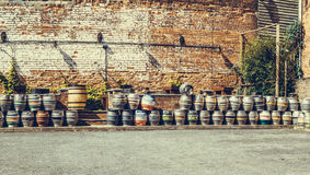 Steel kegs of beer in factory yard panoramic view Stock Photography