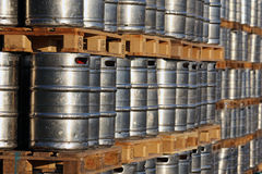 steel kegs on the wooden palettes Stock Photography