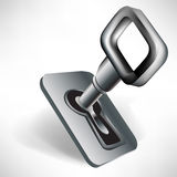 Steel key in keyhole Stock Photography
