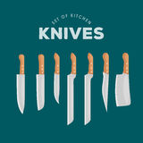 Steel kitchen household cutlery Set. Kitchen Knives Vector illustration.  Stock Images