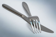 Steel Knife And Fork Stock Photography