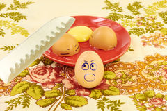 Steel knife breaks eggs Royalty Free Stock Images