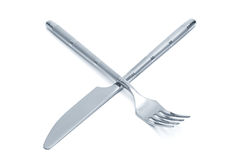 Steel knife and fork Royalty Free Stock Photography