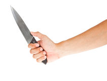 Steel knife and hand Royalty Free Stock Photography