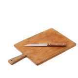 Steel knife lying on a wooden cutting board Stock Image