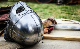 Steel knight helmet Royalty Free Stock Images