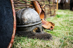 Steel knight helmet Royalty Free Stock Photo